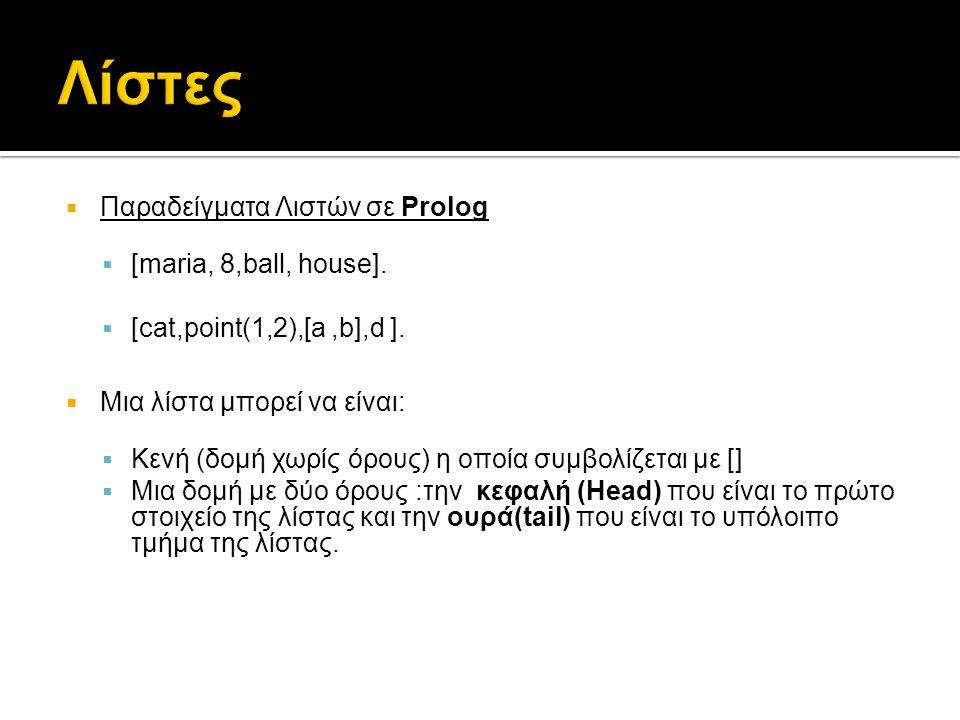 Λίστες Παραδείγματα Λιστών σε Prolog [maria, 8,ball, house].